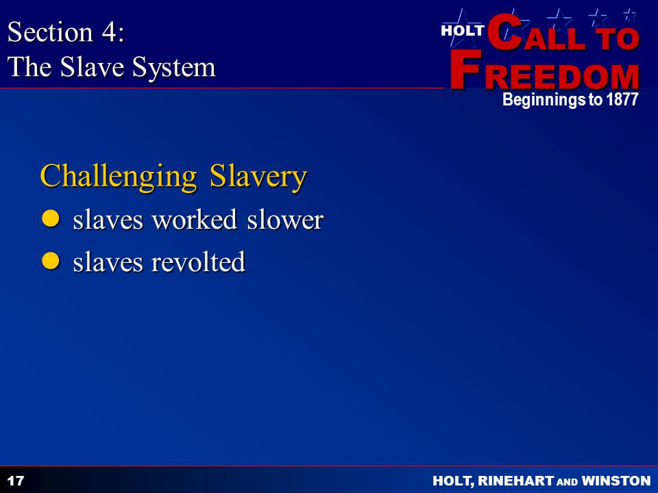 C ALL TO F REEDOM HOLT HOLT, RINEHART AND WINSTON Beginnings to 1877 17 Challenging Slavery slaves worked slower slaves worked slower slaves revolted slaves revolted Section 4: The Slave System