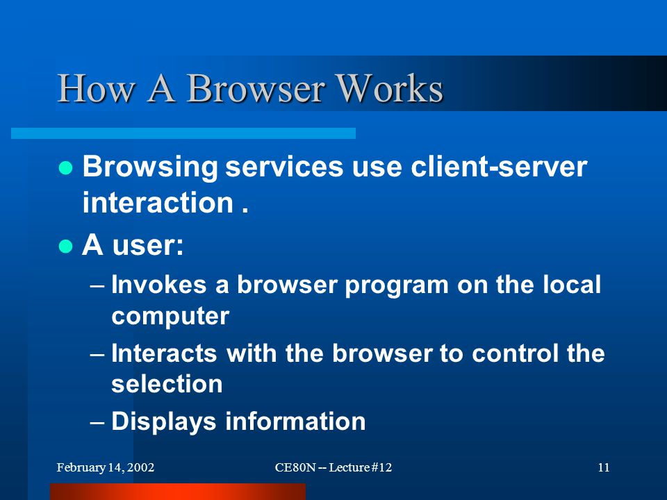 February 14, 2002CE80N -- Lecture #1211 How A Browser Works Browsing services use client-server interaction.