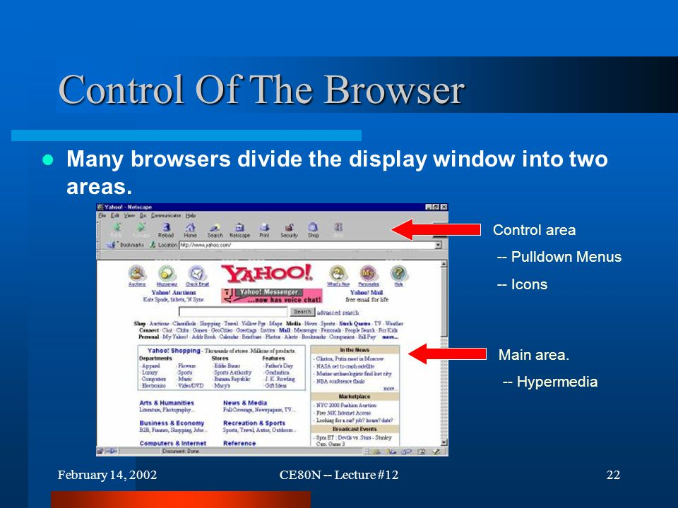 February 14, 2002CE80N -- Lecture #1222 Control Of The Browser Many browsers divide the display window into two areas. Main area. -- Hypermedia Contro