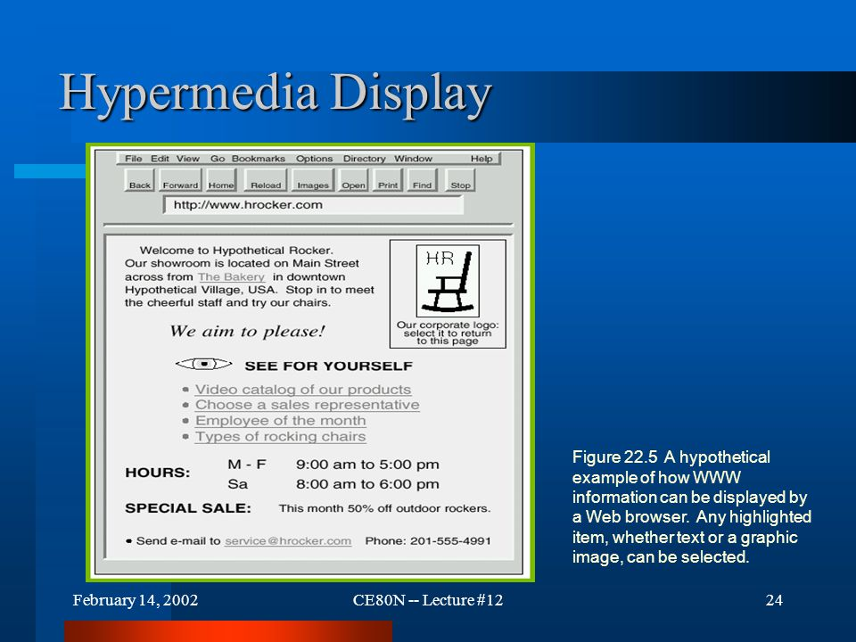 February 14, 2002CE80N -- Lecture #1224 Hypermedia Display Figure 22.5 A hypothetical example of how WWW information can be displayed by a Web browser