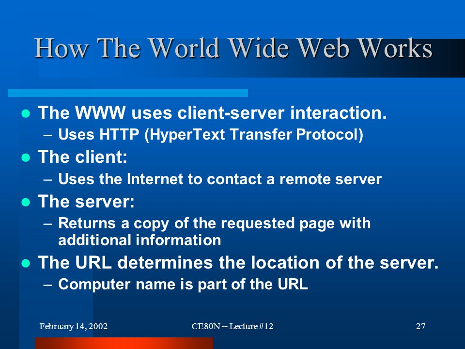 February 14, 2002CE80N -- Lecture #1227 How The World Wide Web Works The WWW uses client-server interaction.