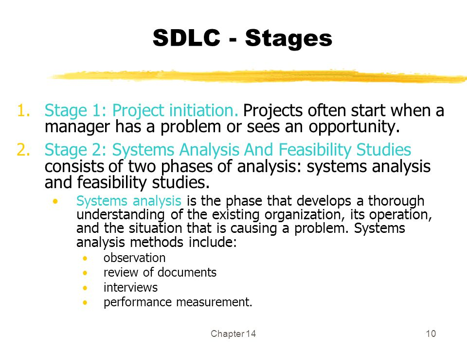 Chapter 1410 SDLC - Stages 1.Stage 1: Project initiation.