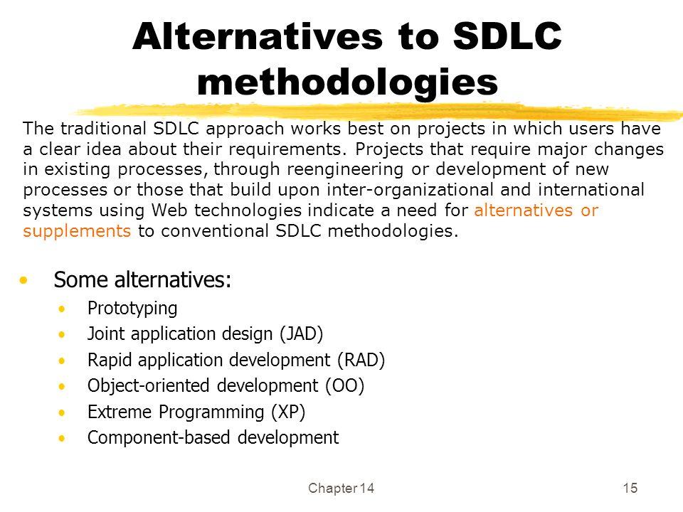 Chapter 1415 Alternatives to SDLC methodologies Some alternatives: Prototyping Joint application design (JAD) Rapid application development (RAD) Obje