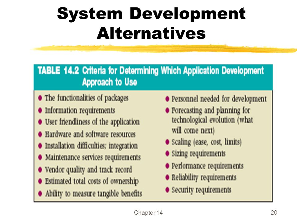 Chapter 1420 System Development Alternatives