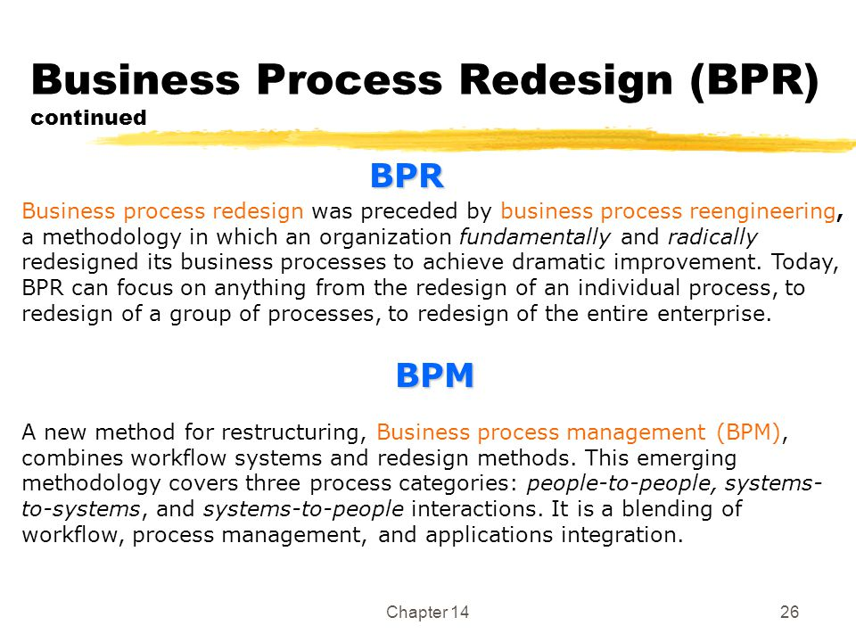 Chapter 1426 Business Process Redesign (BPR) continued Business process redesign was preceded by business process reengineering, a methodology in whic