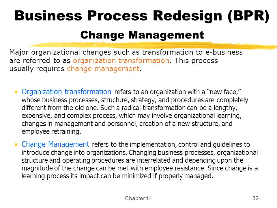 Chapter 1432 Business Process Redesign (BPR) Change Management Organization transformation refers to an organization with a new face, whose business processes, structure, strategy, and procedures are completely different from the old one.