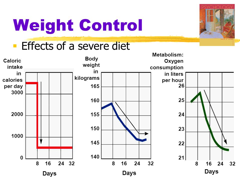 Weight Control  Effects of a severe diet Caloric intake in calories per day Body weight in kilograms Metabolism: Oxygen consumption in liters per hou