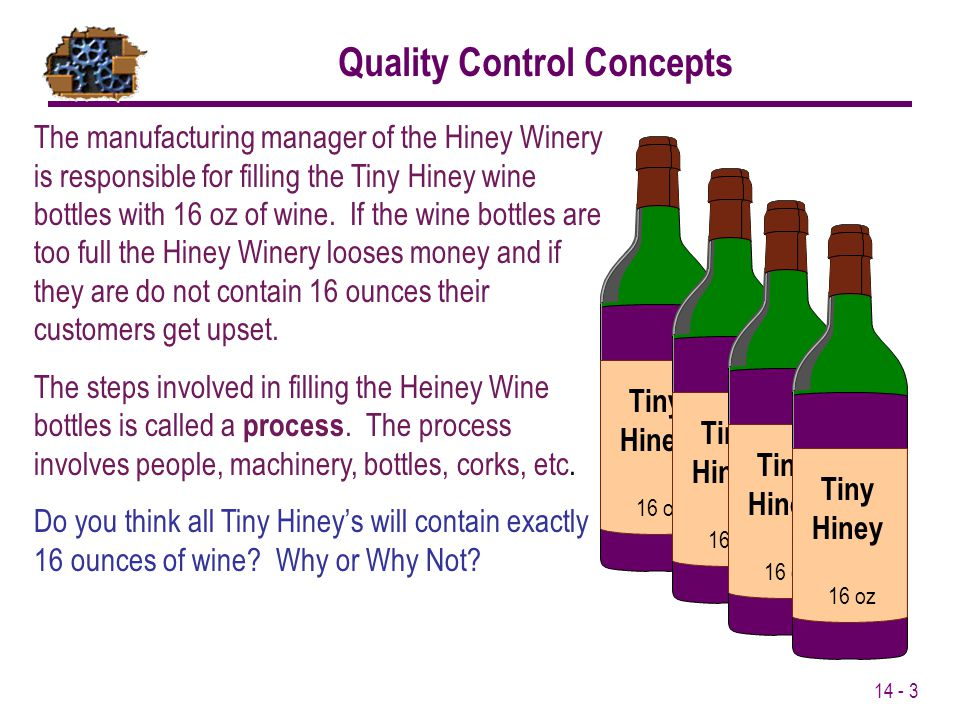 14 - 3 Quality Control Concepts The manufacturing manager of the Hiney Winery is responsible for filling the Tiny Hiney wine bottles with 16 oz of win