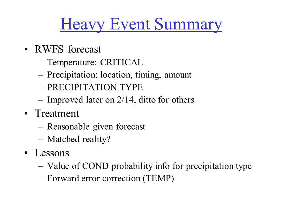 Heavy Event Summary RWFS forecast –Temperature: CRITICAL –Precipitation: location, timing, amount –PRECIPITATION TYPE –Improved later on 2/14, ditto for others Treatment –Reasonable given forecast –Matched reality.