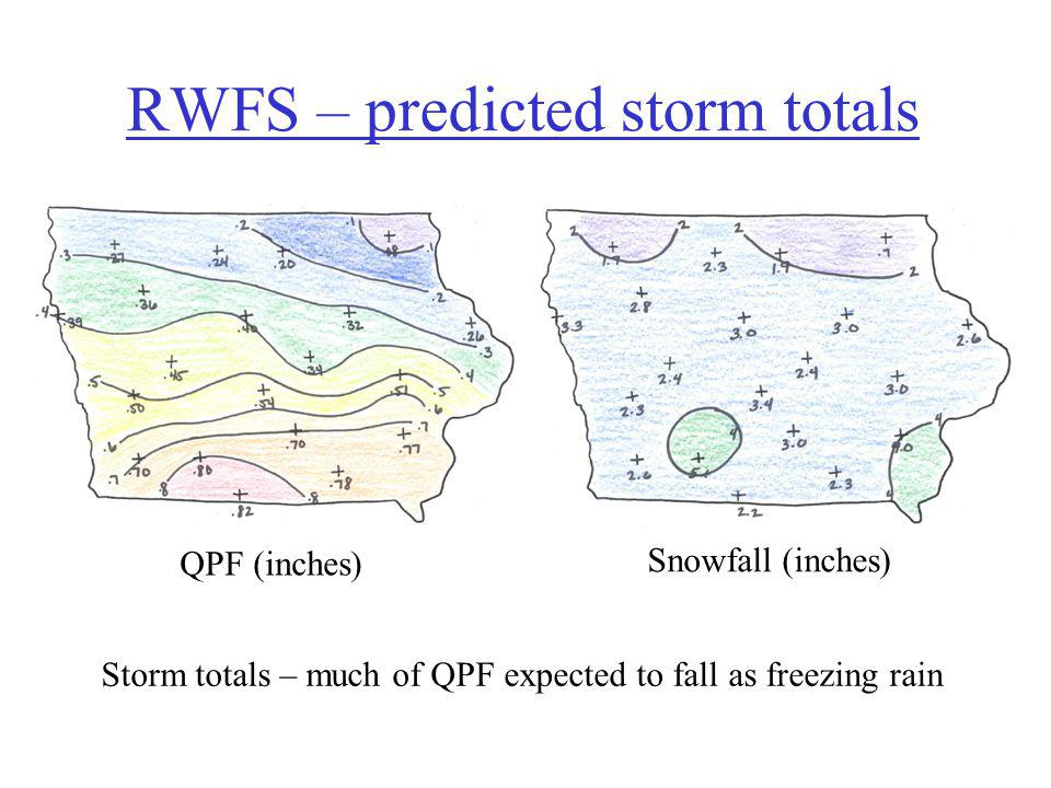 RWFS – predicted storm totals QPF (inches) Snowfall (inches) Storm totals – much of QPF expected to fall as freezing rain