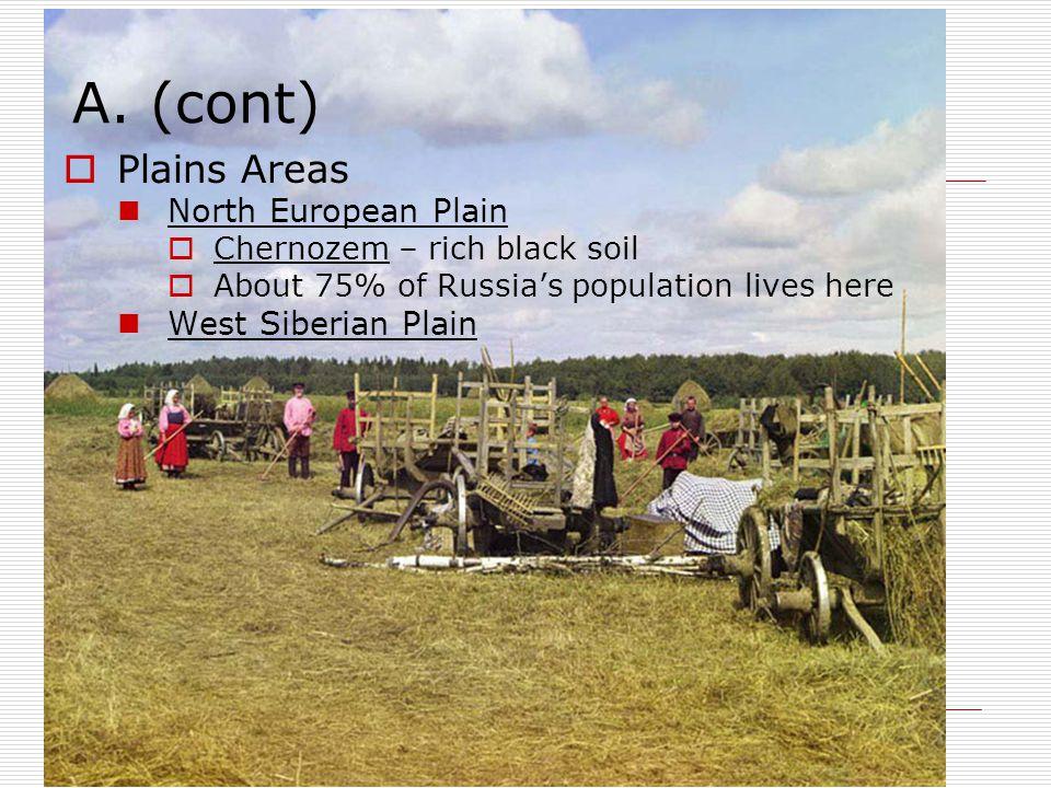 A. (cont)  Plains Areas North European Plain  Chernozem – rich black soil  About 75% of Russia's population lives here West Siberian Plain
