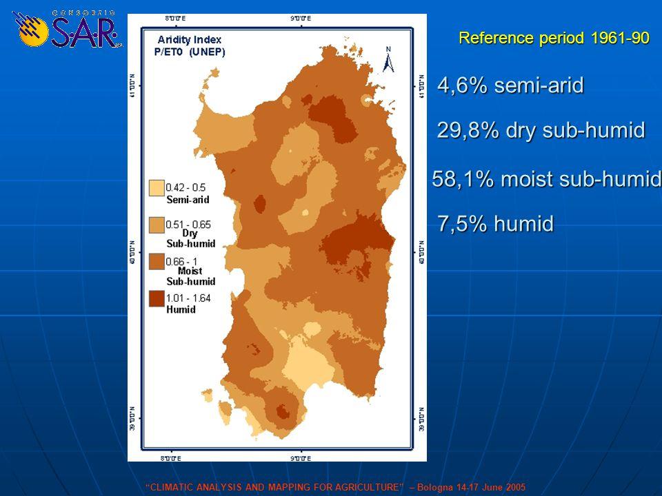 Carta P/ETo 4,6% semi-arid 29,8% dry sub-humid 7,5% humid 58,1% moist sub-humid Reference period 1961-90