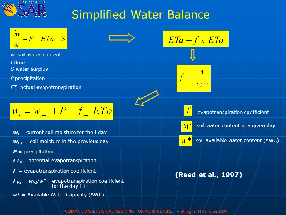 Simplified Water Balance S water surplus ET a actual evapotranspiration P precipitation w soil water content t time (Reed et al., 1997) CLIMATIC ANALYSIS AND MAPPING FOR AGRICULTURE – Bologna 14-17 June 2005 w i = current soil moisture for the i day w i-1 = soil moisture in the previous day P = precipitation ET o = potential evapotranspiration f = evapotranspiration coefficient f i-1 = w i-1 /w*= evapotranspiration coefficient for the day i-1 w* = Available Water Capacity (AWC) ETa = f x ETo evapotranspiration coefficient soil water content in a given day soil available water content (AWC)