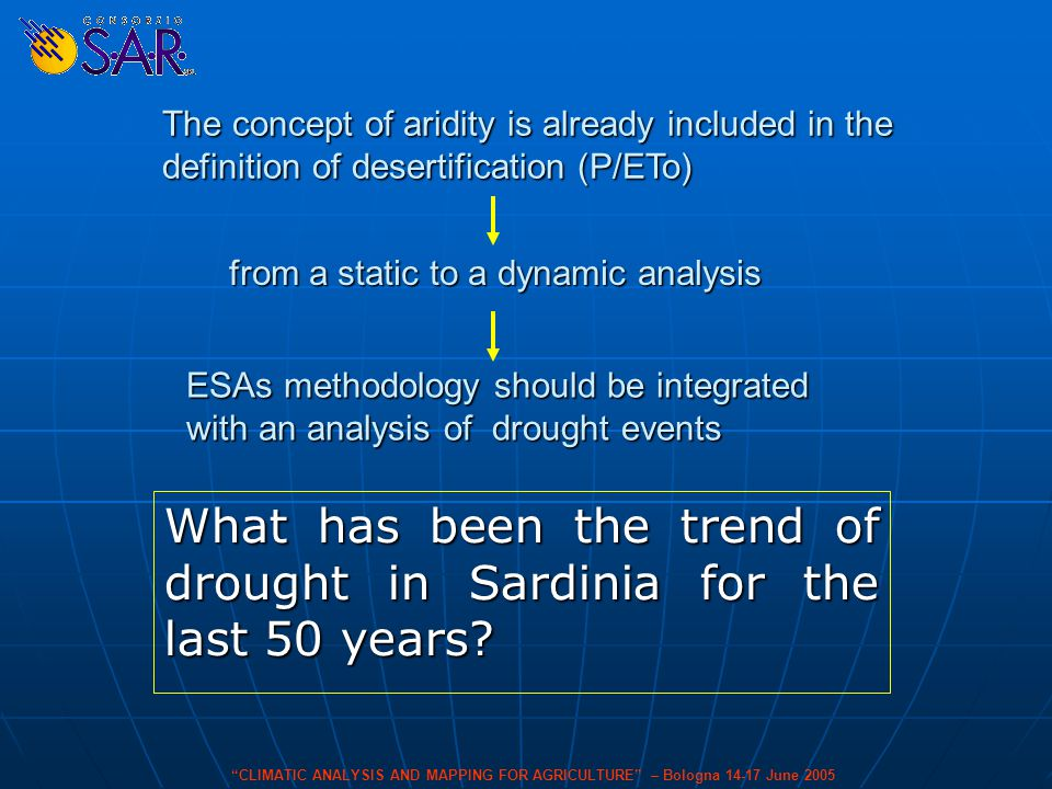 CLIMATIC ANALYSIS AND MAPPING FOR AGRICULTURE – Bologna 14-17 June 2005 What has been the trend of drought in Sardinia for the last 50 years.