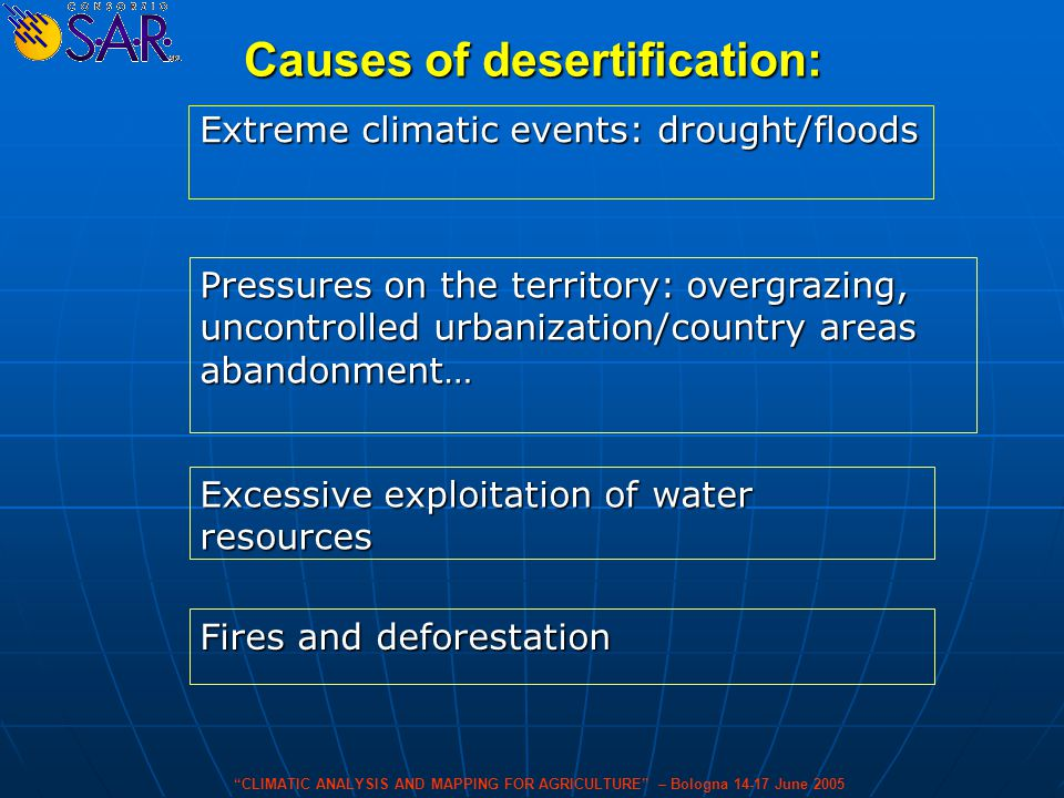 Causes of desertification: Extreme climatic events: drought/floods Pressures on the territory: overgrazing, uncontrolled urbanization/country areas abandonment… Excessive exploitation of water resources Fires and deforestation CLIMATIC ANALYSIS AND MAPPING FOR AGRICULTURE – Bologna 14-17 June 2005
