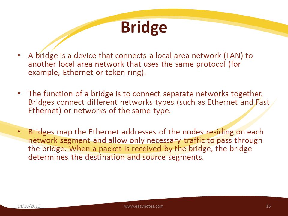 Bridge A bridge is a device that connects a local area network (LAN) to another local area network that uses the same protocol (for example, Ethernet or token ring).
