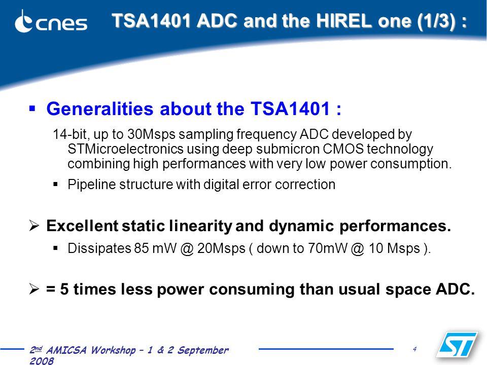 4 2 nd AMICSA Workshop – 1 & 2 September 2008 TSA1401 ADC and the HIREL one (1/3) :  Generalities about the TSA1401 : 14-bit, up to 30Msps sampling f