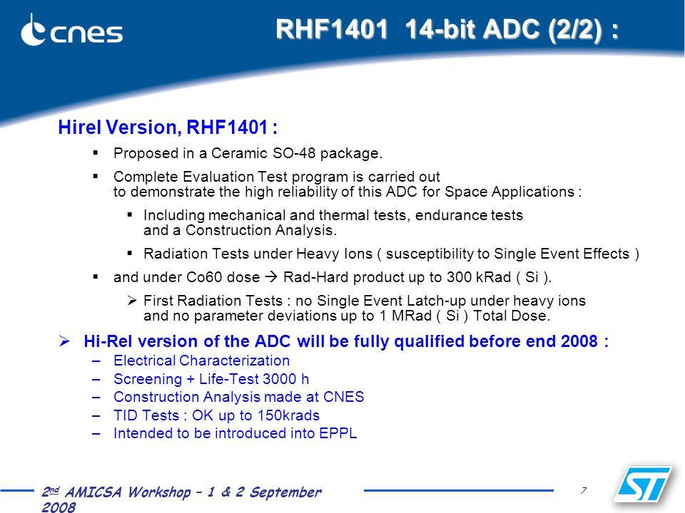 7 2 nd AMICSA Workshop – 1 & 2 September 2008 RHF1401 14-bit ADC (2/2) : Hirel Version, RHF1401 :  Proposed in a Ceramic SO-48 package.  Complete Ev