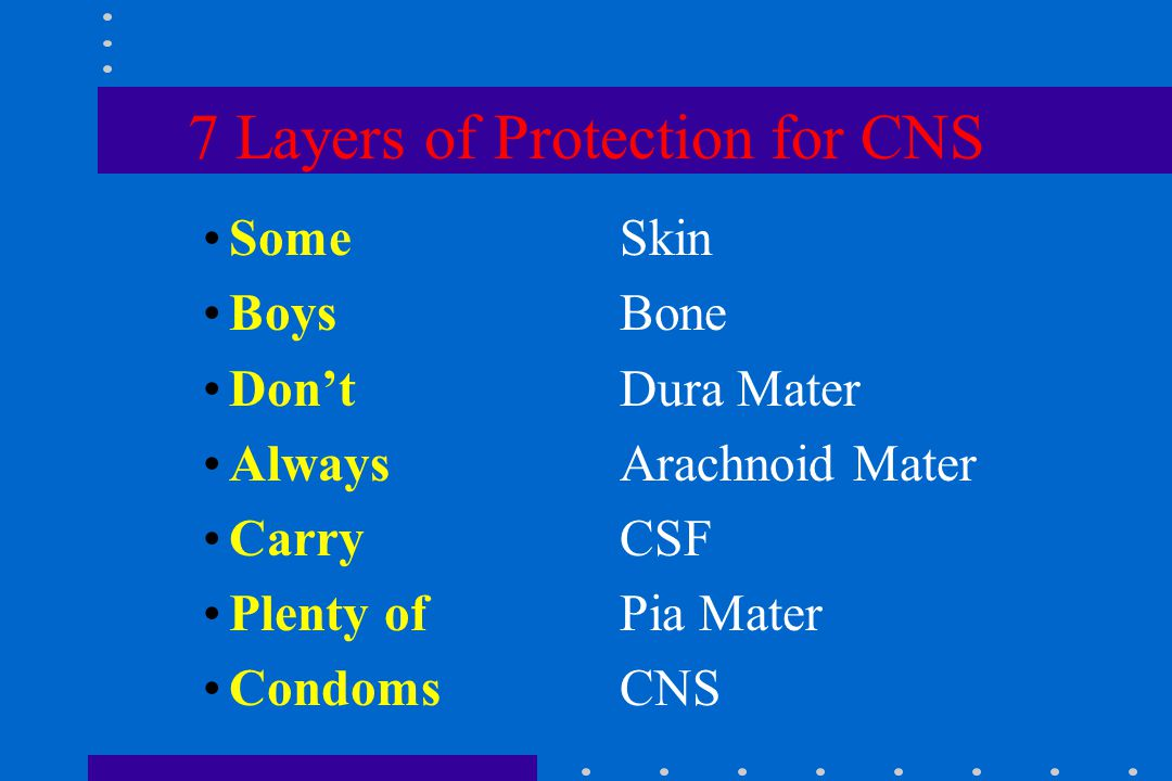 7 Layers of Protection for CNS SomeSkin BoysBone Don'tDura Mater AlwaysArachnoid Mater CarryCSF Plenty ofPia Mater CondomsCNS