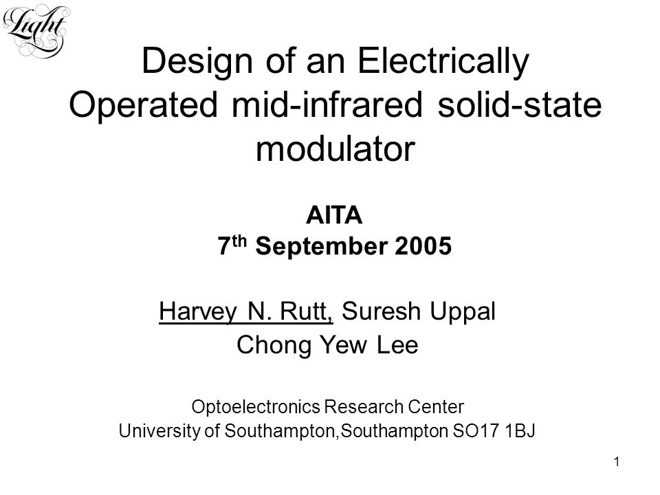 2 Outline Background Choice of Material The physics Electrical modulator Design criteria Simulation results Outlook