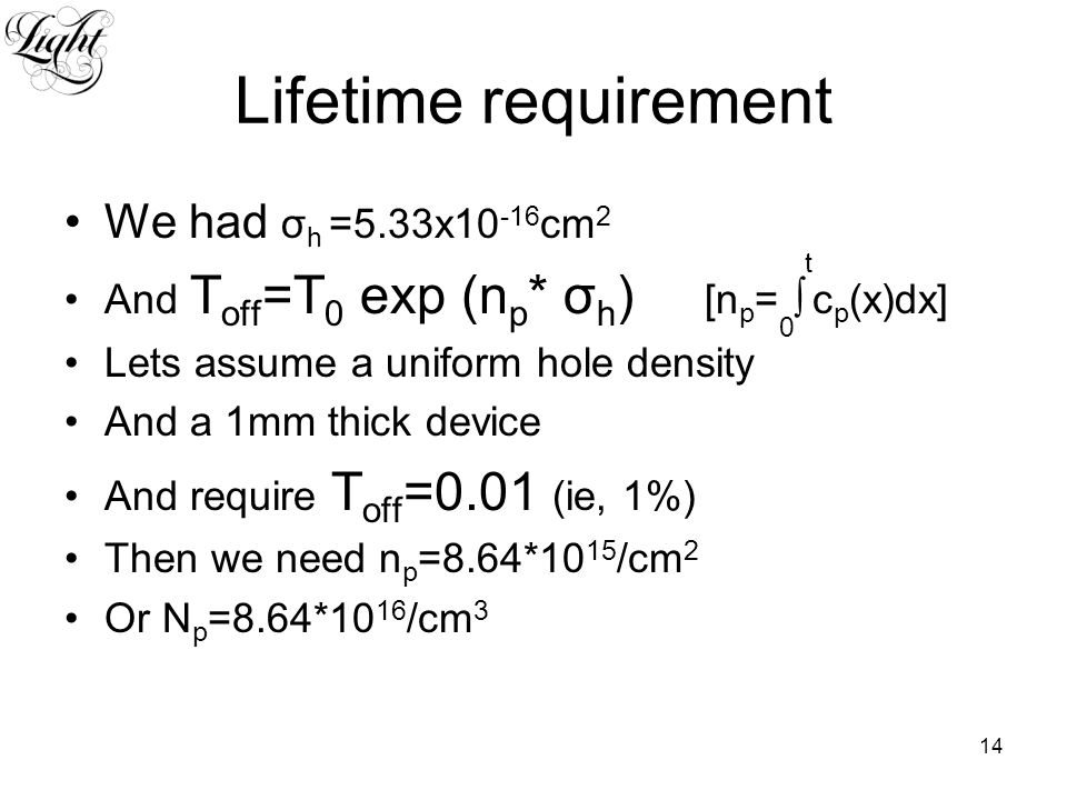 14 Lifetime requirement We had σ h =5.33x10 -16 cm 2 And T off =T 0 exp (n p * σ h ) [n p = 0 ∫ t c p (x)dx] Lets assume a uniform hole density And a 1mm thick device And require T off =0.01 (ie, 1%) Then we need n p =8.64*10 15 /cm 2 Or N p =8.64*10 16 /cm 3