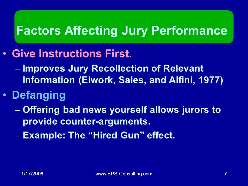 1/17/2006www.EPS-Consulting.com6 Jurors HATE cost-benefit analysis!!! Beware!