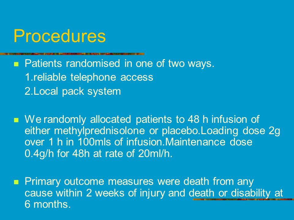 Procedures Patients randomised in one of two ways.