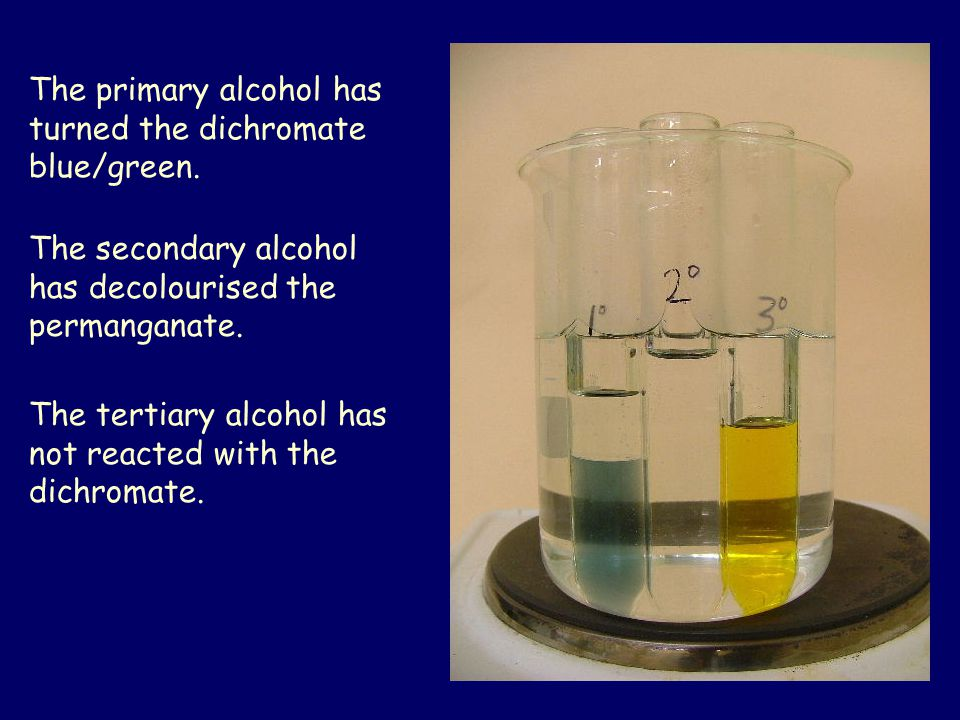 Primary alcohols are oxidised by acidified dichromate or acidified permanganate.