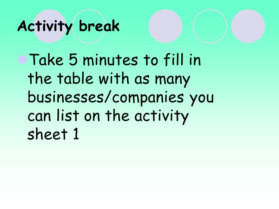 Activity break Take 5 minutes to fill in the table with as many businesses/companies you can list on the activity sheet 1