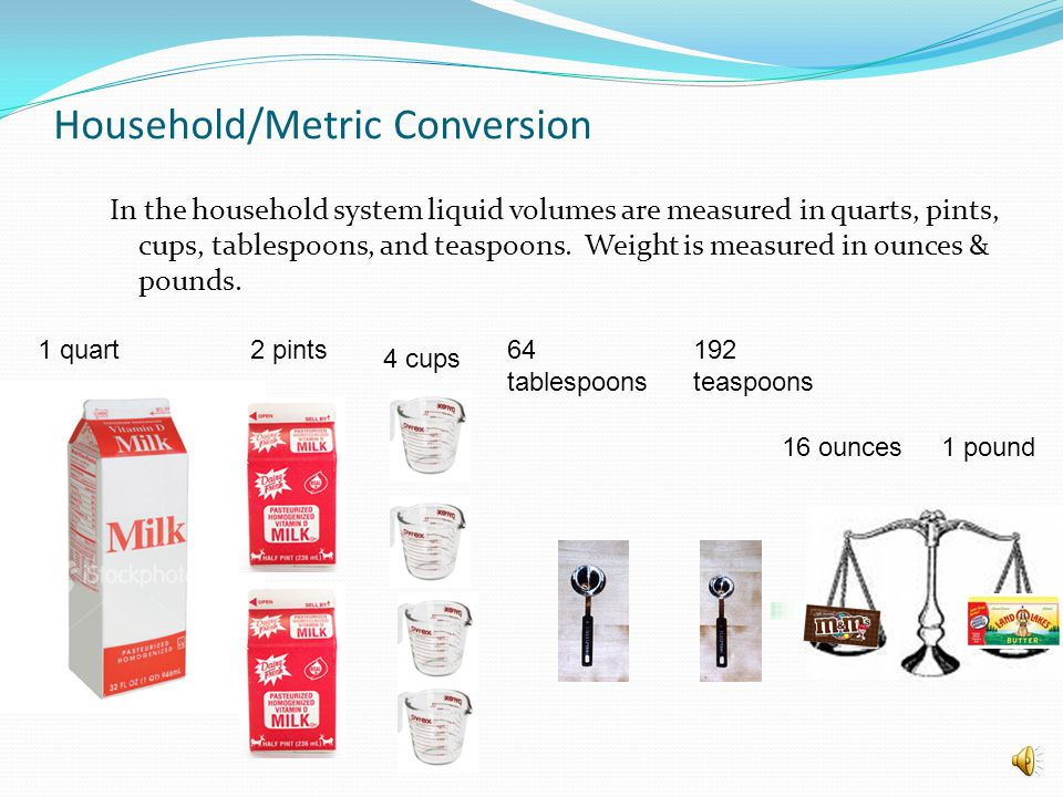 In the household system liquid volumes are measured in quarts, pints, cups, tablespoons, and teaspoons.