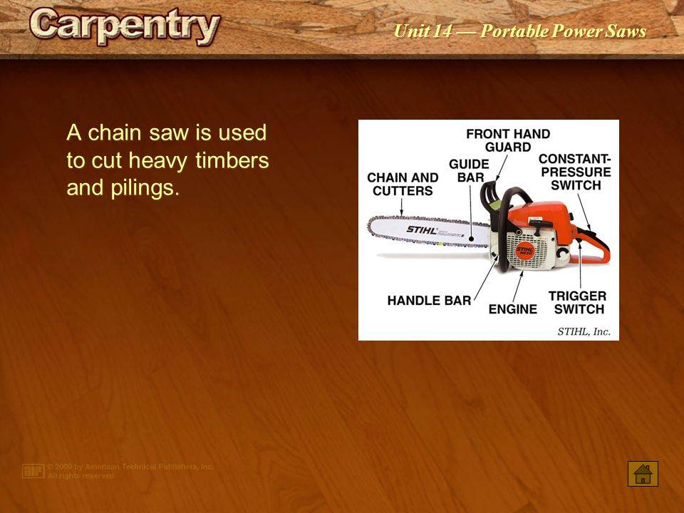 Unit 14 — Portable Power Saws A cutout saw uses a spiral bit to cut openings in wood and nonwood materials such as an opening in gypsum board for a re