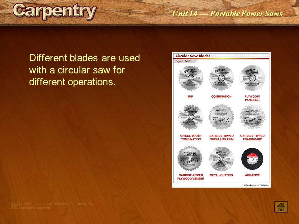 Unit 14 — Portable Power Saws Blade diameter affects the maximum depth of cut. When the blade angle is set to 45°, the depth of cut is decreased.