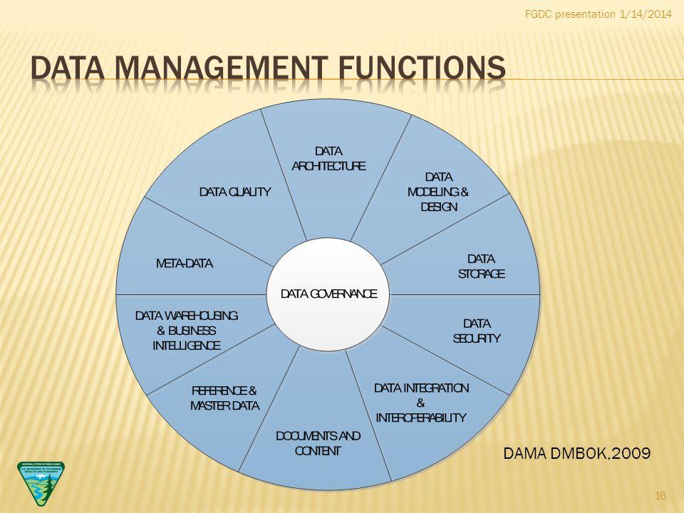 FGDC presentation 1/14/2014 DAMA DMBOK,2009 16