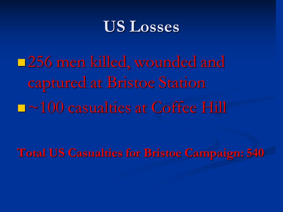 US Losses 256 men killed, wounded and captured at Bristoe Station 256 men killed, wounded and captured at Bristoe Station ~100 casualties at Coffee Hi