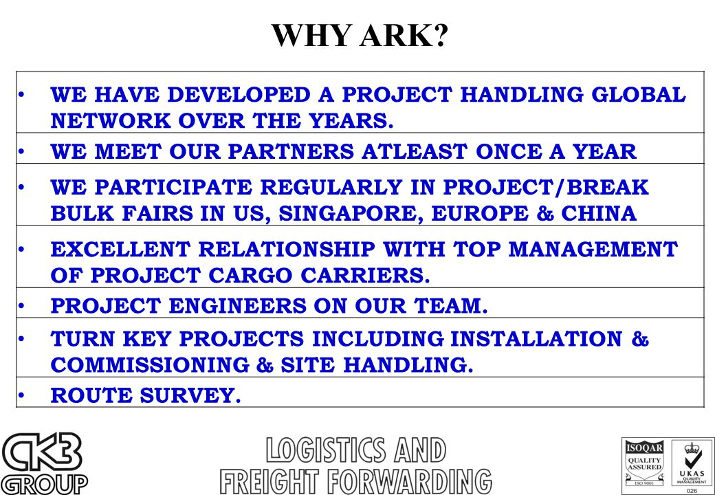 WE HAVE DEVELOPED A PROJECT HANDLING GLOBAL NETWORK OVER THE YEARS. WE MEET OUR PARTNERS ATLEAST ONCE A YEAR WE PARTICIPATE REGULARLY IN PROJECT/BREAK