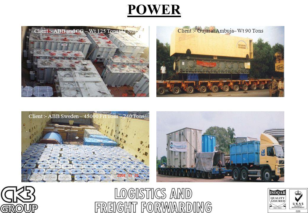 POWER Client :- ABB and CG – Wt 125 Tons (11 Nos) Client :- Gujarat Ambuja– Wt 90 Tons Client :- ABB Sweden – 45000 Frt Tons – 240 Tons