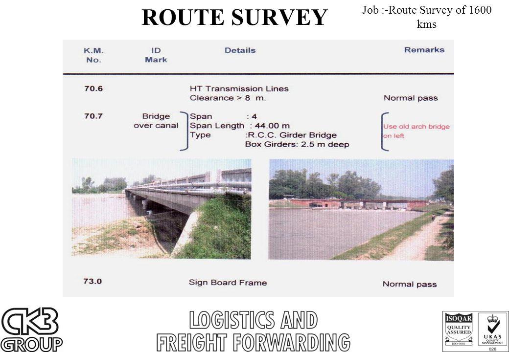 ROUTE SURVEY Job :-Route Survey of 1600 kms