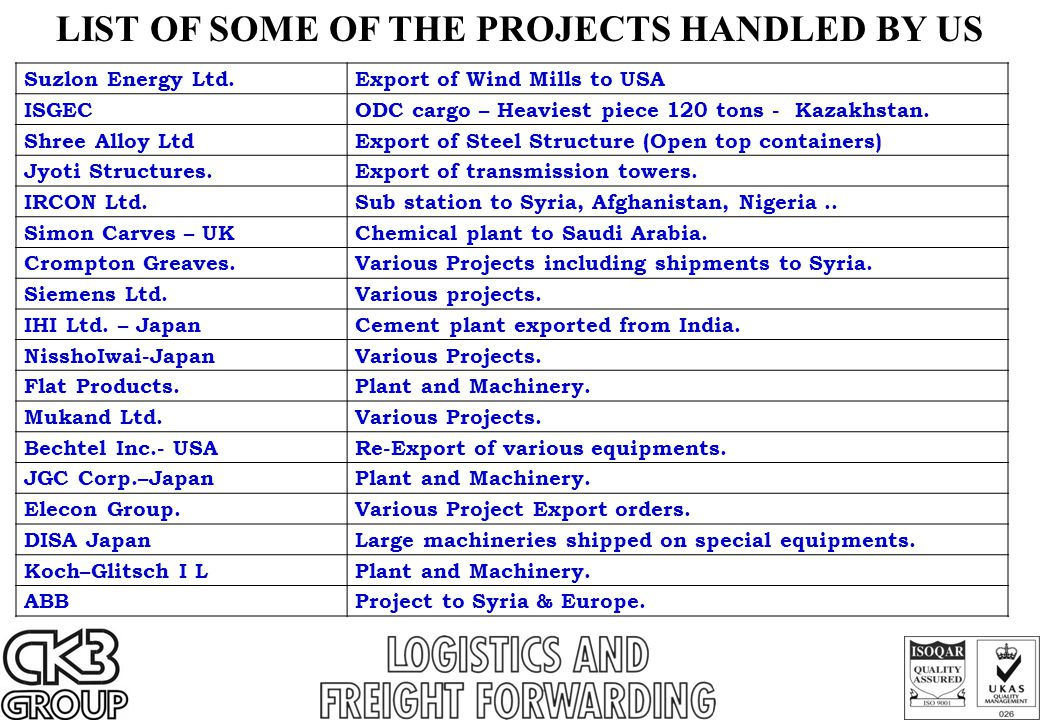 LIST OF SOME OF THE PROJECTS HANDLED BY US Suzlon Energy Ltd. Export of Wind Mills to USA ISGEC ODC cargo – Heaviest piece 120 tons - Kazakhstan. Shre