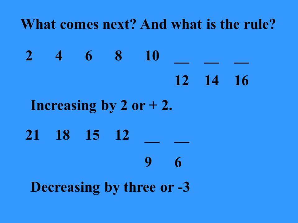 What comes next.And what is the rule. 2591420__ 27 Increasing by 3, then 4, then 5 and so on.