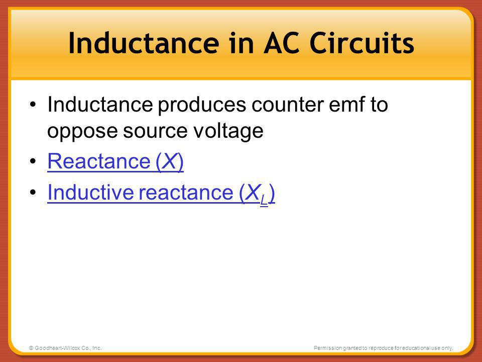 © Goodheart-Willcox Co., Inc.Permission granted to reproduce for educational use only. Inductance in AC Circuits Inductance produces counter emf to op