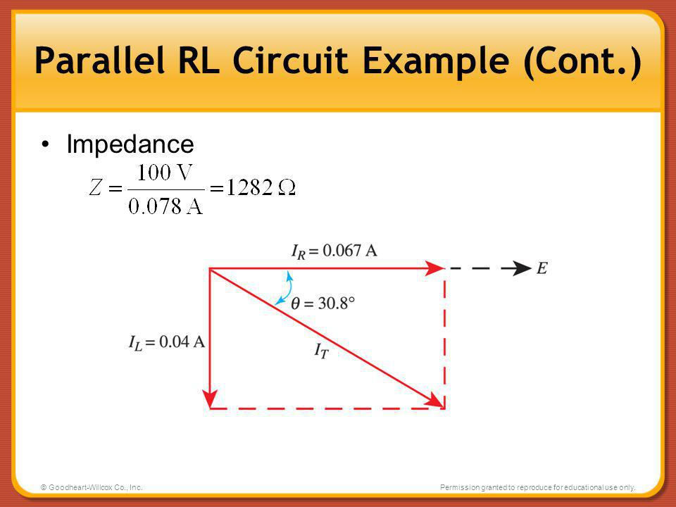 © Goodheart-Willcox Co., Inc.Permission granted to reproduce for educational use only. Parallel RL Circuit Example (Cont.) Impedance