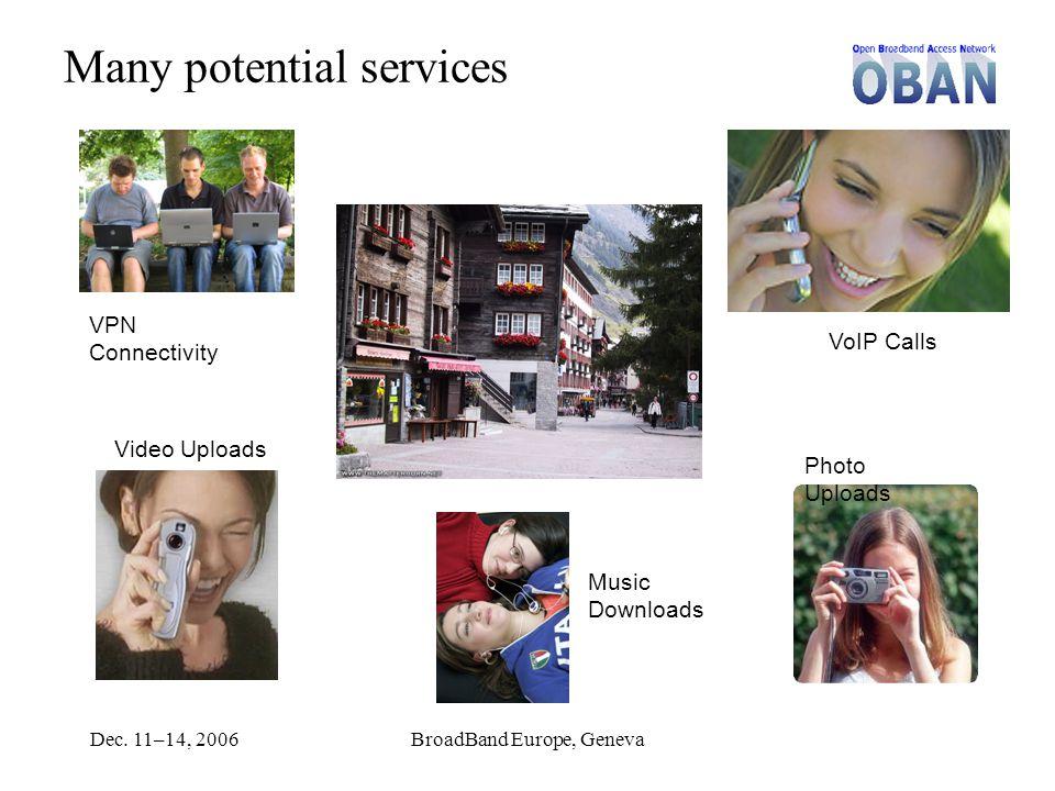Dec. 11–14, 2006BroadBand Europe, Geneva Many potential services VPN Connectivity Video Uploads Photo Uploads VoIP Calls Music Downloads