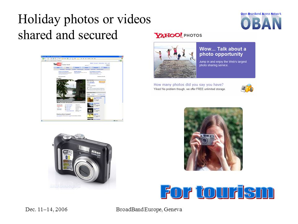 Dec. 11–14, 2006BroadBand Europe, Geneva Holiday photos or videos shared and secured