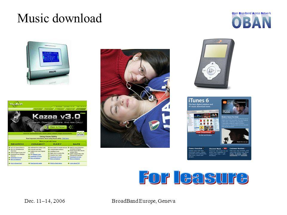 Dec. 11–14, 2006BroadBand Europe, Geneva Music download
