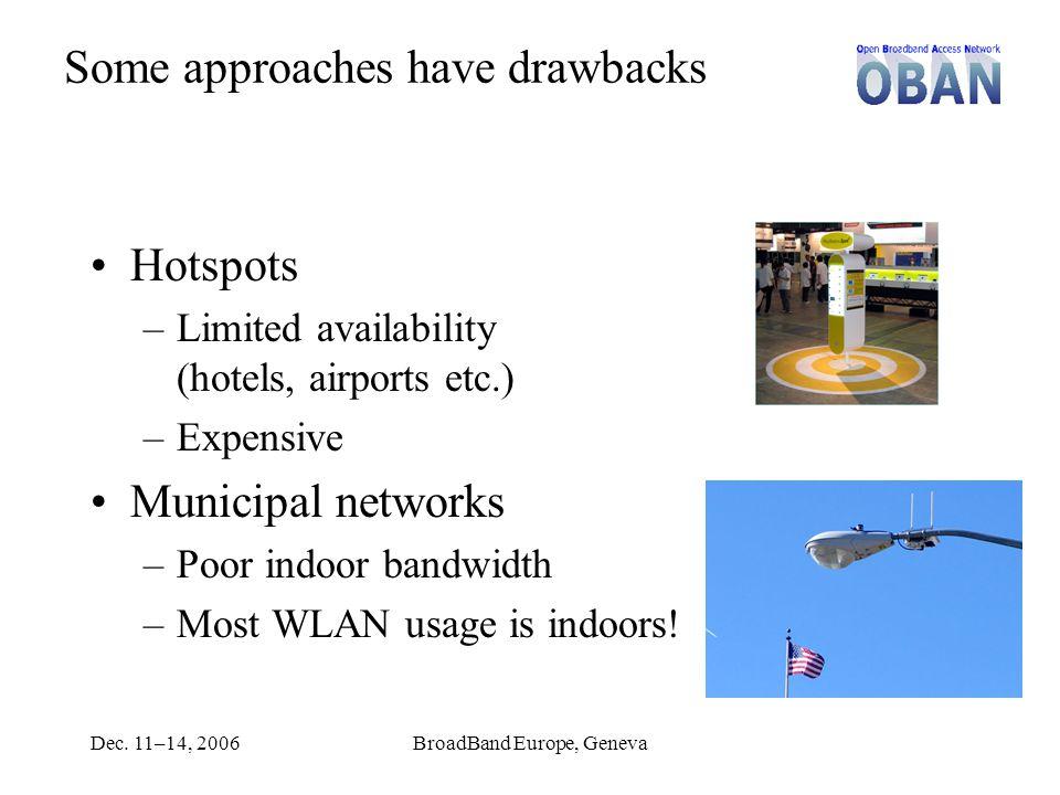 Dec. 11–14, 2006BroadBand Europe, Geneva Some approaches have drawbacks Hotspots –Limited availability (hotels, airports etc.) –Expensive Municipal ne