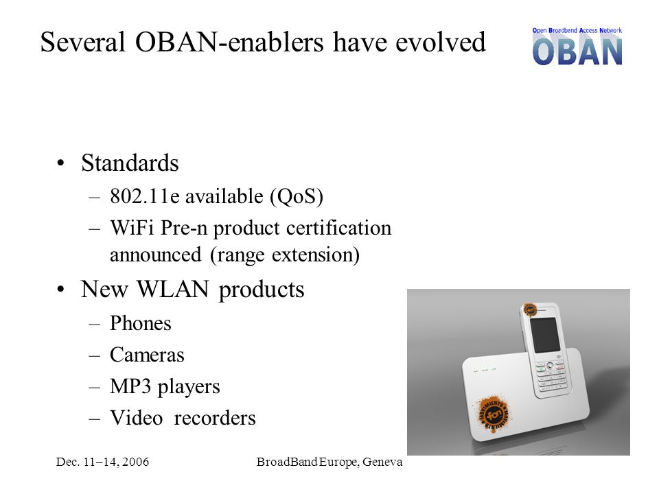 Dec. 11–14, 2006BroadBand Europe, Geneva Several OBAN-enablers have evolved Standards –802.11e available (QoS) –WiFi Pre-n product certification annou