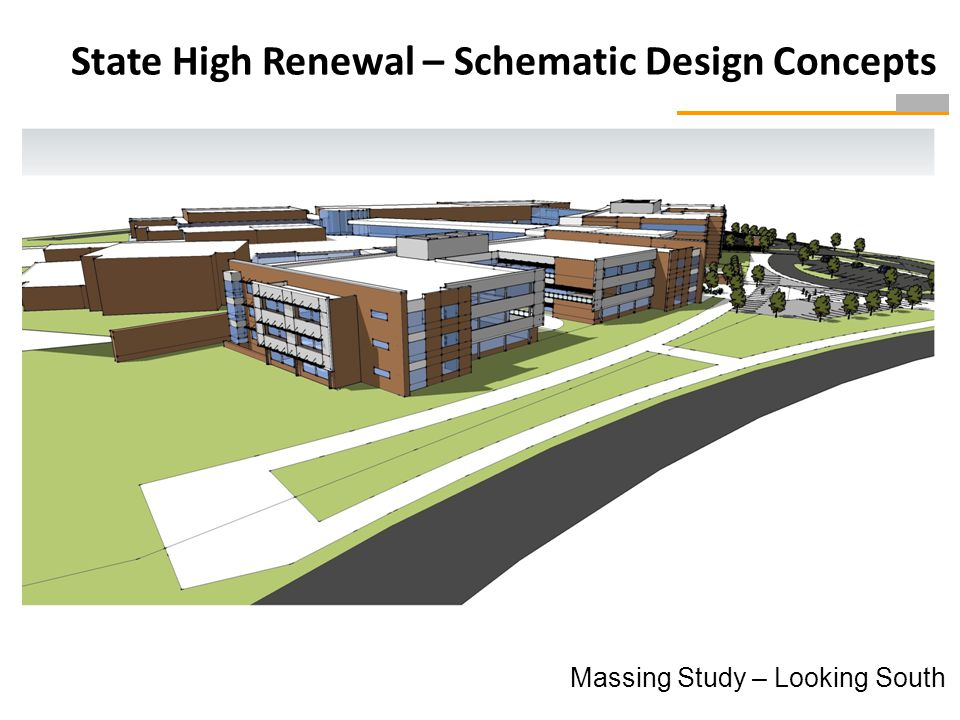 Massing Study – Looking South State High Renewal – Schematic Design Concepts