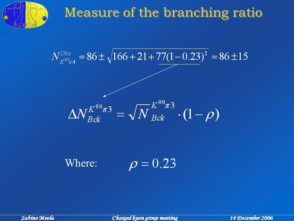 Sabino Meola Charged kaon group meeting 14 December 2006 Measure of the branching ratio Where: