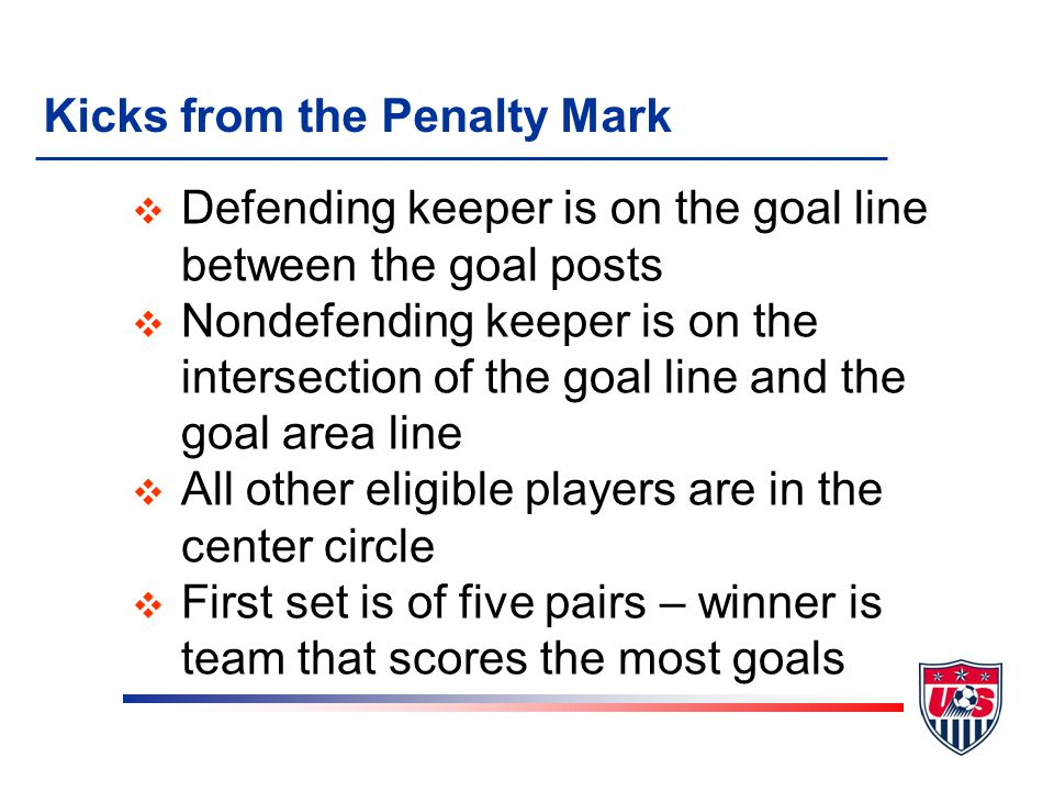 Kicks from the Penalty Mark v Defending keeper is on the goal line between the goal posts v Nondefending keeper is on the intersection of the goal lin