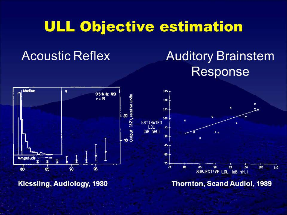ULL Objective estimation Kiessling, Audiology, 1980 Thornton, Scand Audiol, 1989 Acoustic Reflex Auditory Brainstem Response